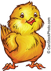 Vector illustration of chick in cartoon style on transparent...