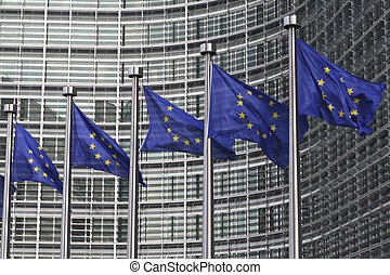 European flags in Brussels - 5 European flags waving in the...