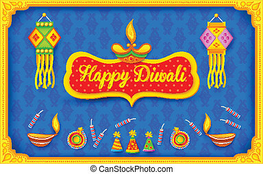 Diwali background with colorful firecracker - illustration...