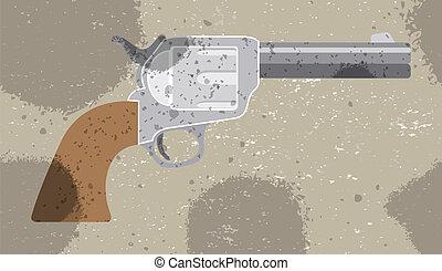 Revolver vector retro background Vector illustration Pattern...
