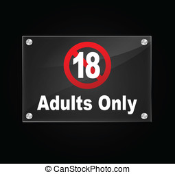 Vector adults only sign - Vector illustration of transparent...