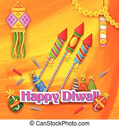 Happy Diwali Background - illustration of Happy Diwali...