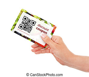 hand holding food discount coupon with qr code isolated over...
