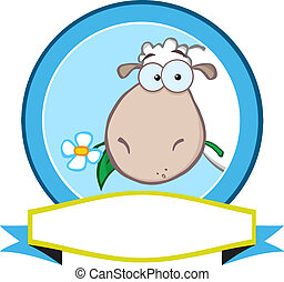 Blue Circle Label With Sheep - Cartoon Blue Circle Label...