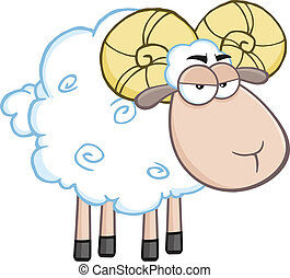 Angry Ram Sheep Cartoon Mascot Character