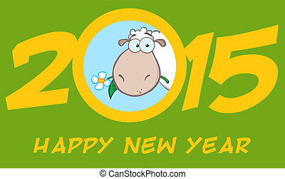 Year Of Sheep 2015 Numbers Green Design Card With Head Sheep...