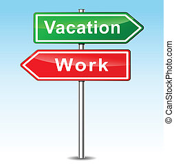 Vector vacation and work concept - Vector illustration of...