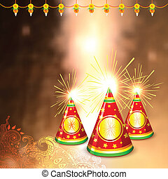 Diwali background with colorful firecracker