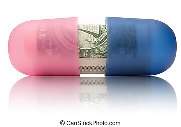 Healthcare costs - Medicine pill with dollar notes rolled up...