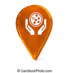 Oncology - Glass GPS marker icon with white health care sign...