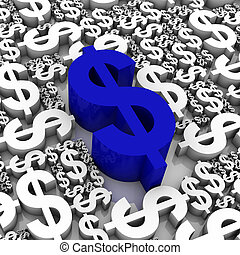 Dollar Currency Symbol - Group of 3D dollar currency symbols...
