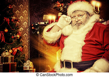 big santa - Portrait of smiling Santa Claus in a room...