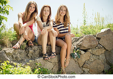 3 girlfriends cute young woman having fun happy smiling...