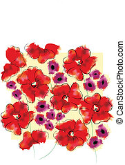 Adonis and gloxinia floral pattern Useful as background
