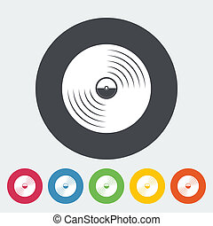 Record icon - Record Single flat icon on the circle Vector...