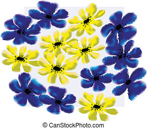 Forget-me-not and cinquefoil floral pattern Useful as...