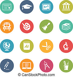 Education Icons -- Fresh Colors