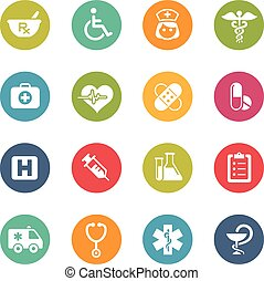 Medical Icons -- Fresh Colors Serie - Icons and buttons in...