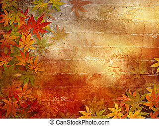 Autumn background with fall leaves - Fall leaves border...