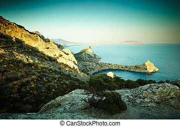 montagne, tramonto, paesaggio, mare,  crimea