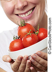 Woman with Bowl of Tomatoes