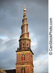 The spire of the Church of Our Saviour in Copenhagen - The...