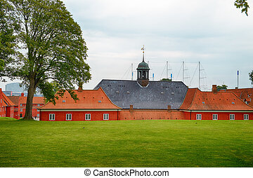 The back side of the church in Kastellet, Copenhagen. - The...