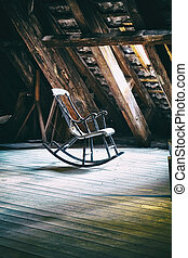 The rocking armchair on attic floor of Round Tower in...