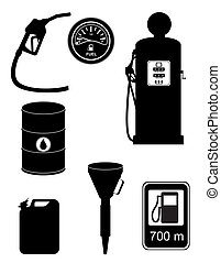 black silhouette fuel set icons vector illustration isolated...