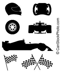 black silhouette set racing icons vector illustration...