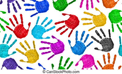 Seamless hands background isolated on white - teamwork...