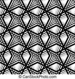 Stripes geometric seamless pattern, black and white vector...