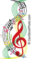 Music notes composition, musical theme background, vector...