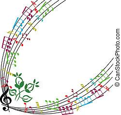 Music notes background, stylish musical theme frame, vector illu
