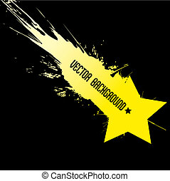 Falling star with vector background, dirty art style symbol