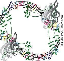 Music notes composition, musical theme background, vector illust