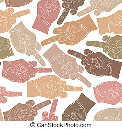 Middle finger hands seamless pattern, vector background for...