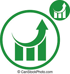 Graph growth graphics vector simple single color icon...