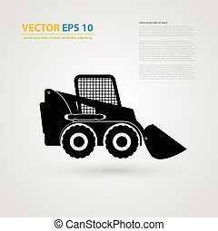 Vector isolated tractor icons. silhouettes. - Vector...