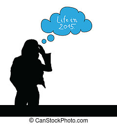 girl think life in 2015 color vector