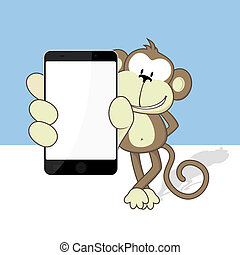 monkey with smart phone