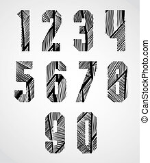 Bold condensed poster style numbers with hand drawn lines patter