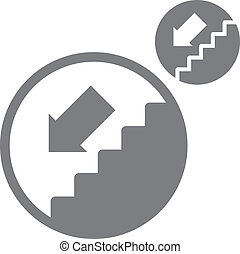 Stairs down vector simple single color icon isolated on...