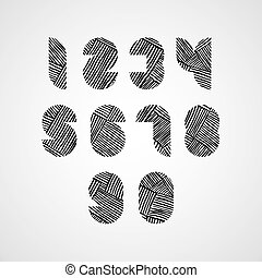Contemporary style numbers with hand drawn lines pattern.