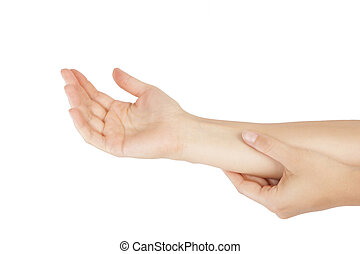 Forearm pain. - Forearm muscle strain. Female hand touching...