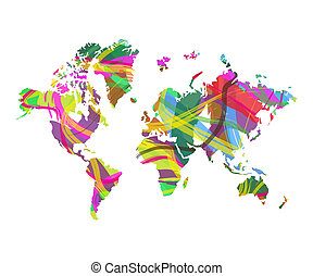 abstract world map on white background