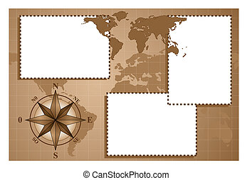 Scrapbook with compass rose and map world - Scrapbook - Map...