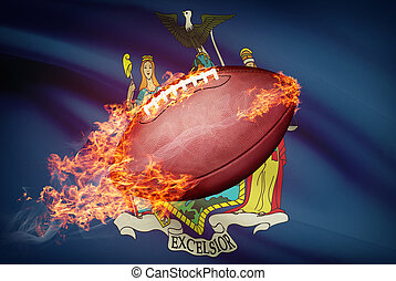 American football ball with flag on backround series - New...