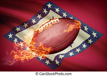 American football ball with flag on backround series -...