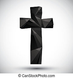 Black cross geometric icon made in 3d modern style, best for...